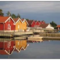 Bootshäuser in der Abendsonne